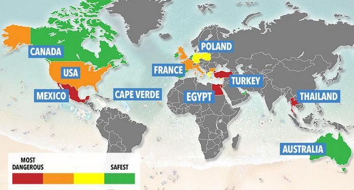 Map shows the dangerous and safest countries to travel around the world map gumiabroncs Images