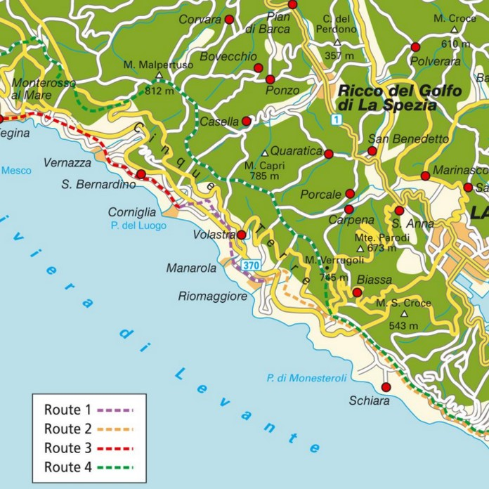 Map Of Cinque Terre With Major Places Towns This Is Italy