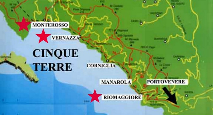 Italy Map Cinque Terre.Map Of Cinque Terre With Major Places Towns This Is Italy