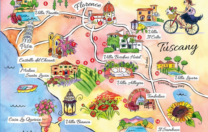 Tuscany On Map Of Italy.Map Of Tuscany With Major Cities Places This Is Italy