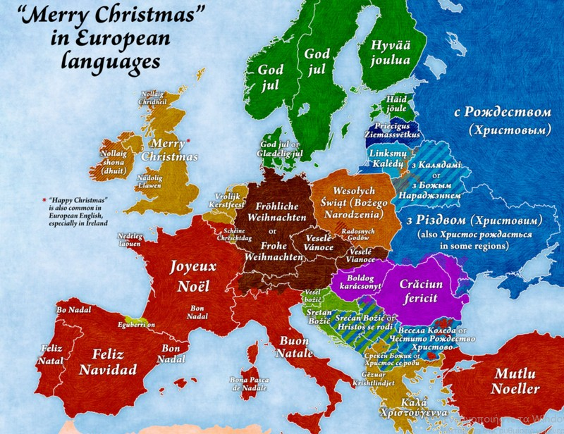 Merry Christmas In Different Languages.Map Shows Merry Christmas In Many Languages This Is Italy