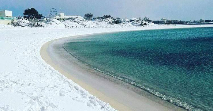 Italy Beach Covered By Snow